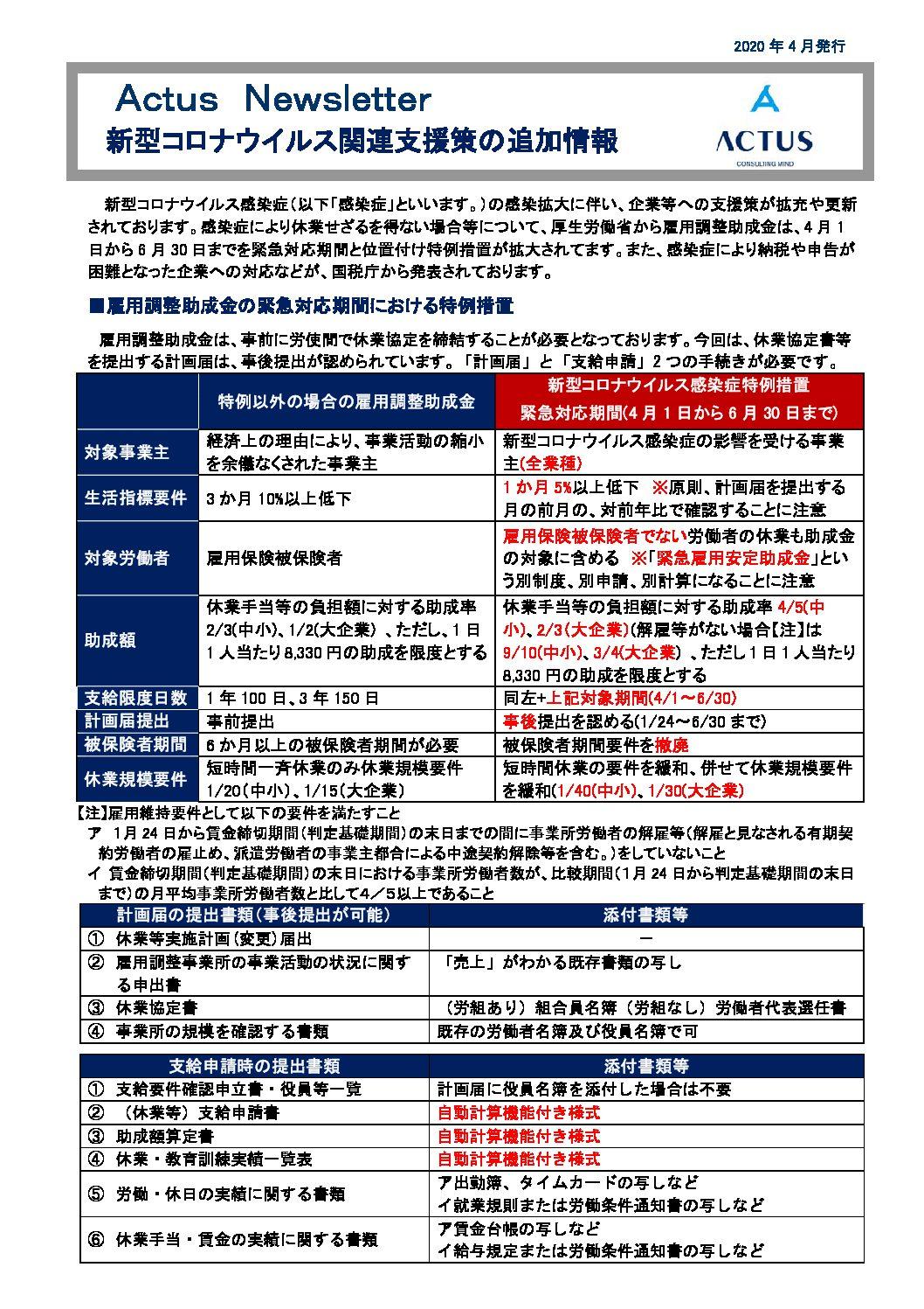 新型コロナウイルス関連支援策の追加情報