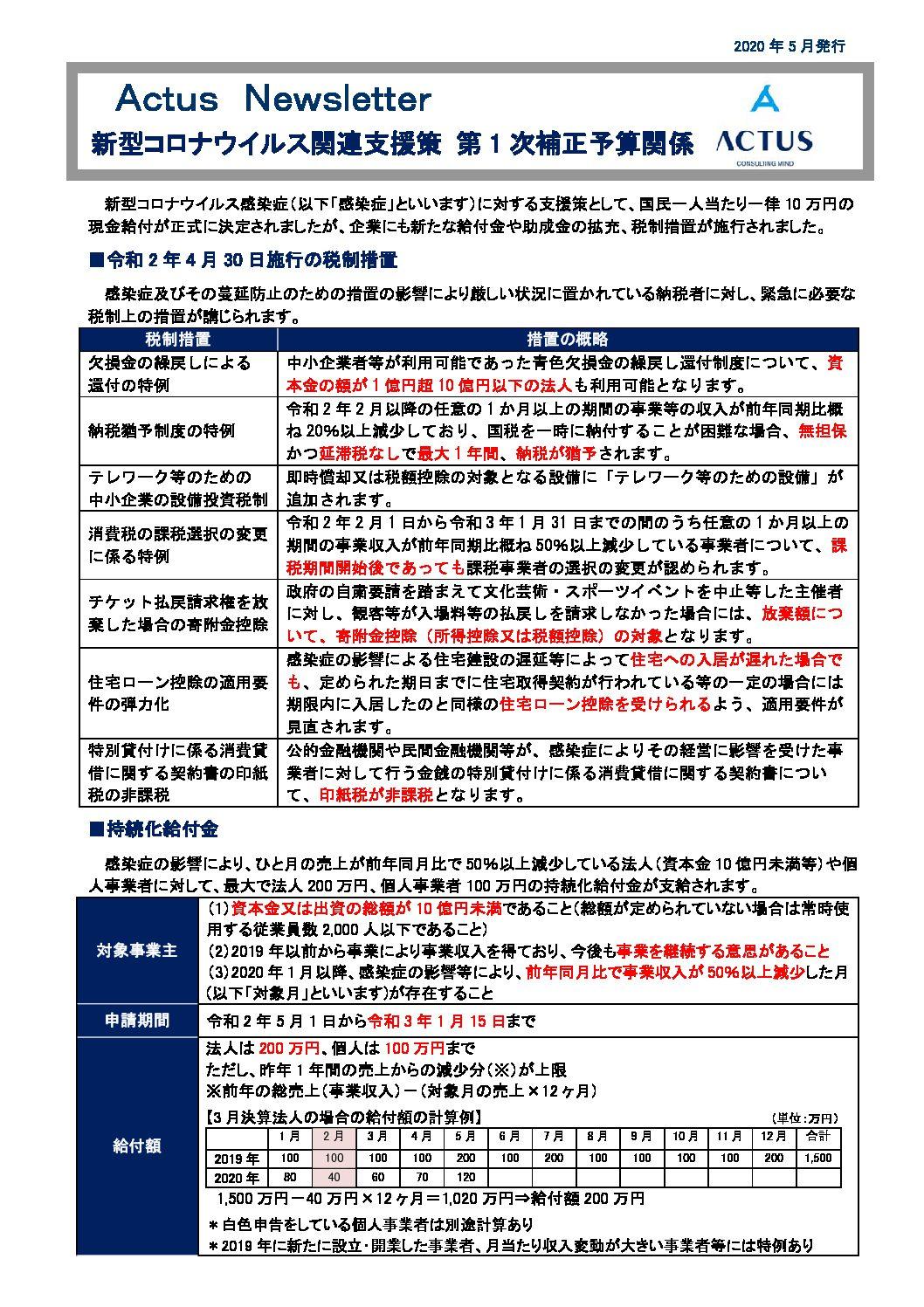 新型コロナウイルス関連支援策 第 1 次 補正予算関係